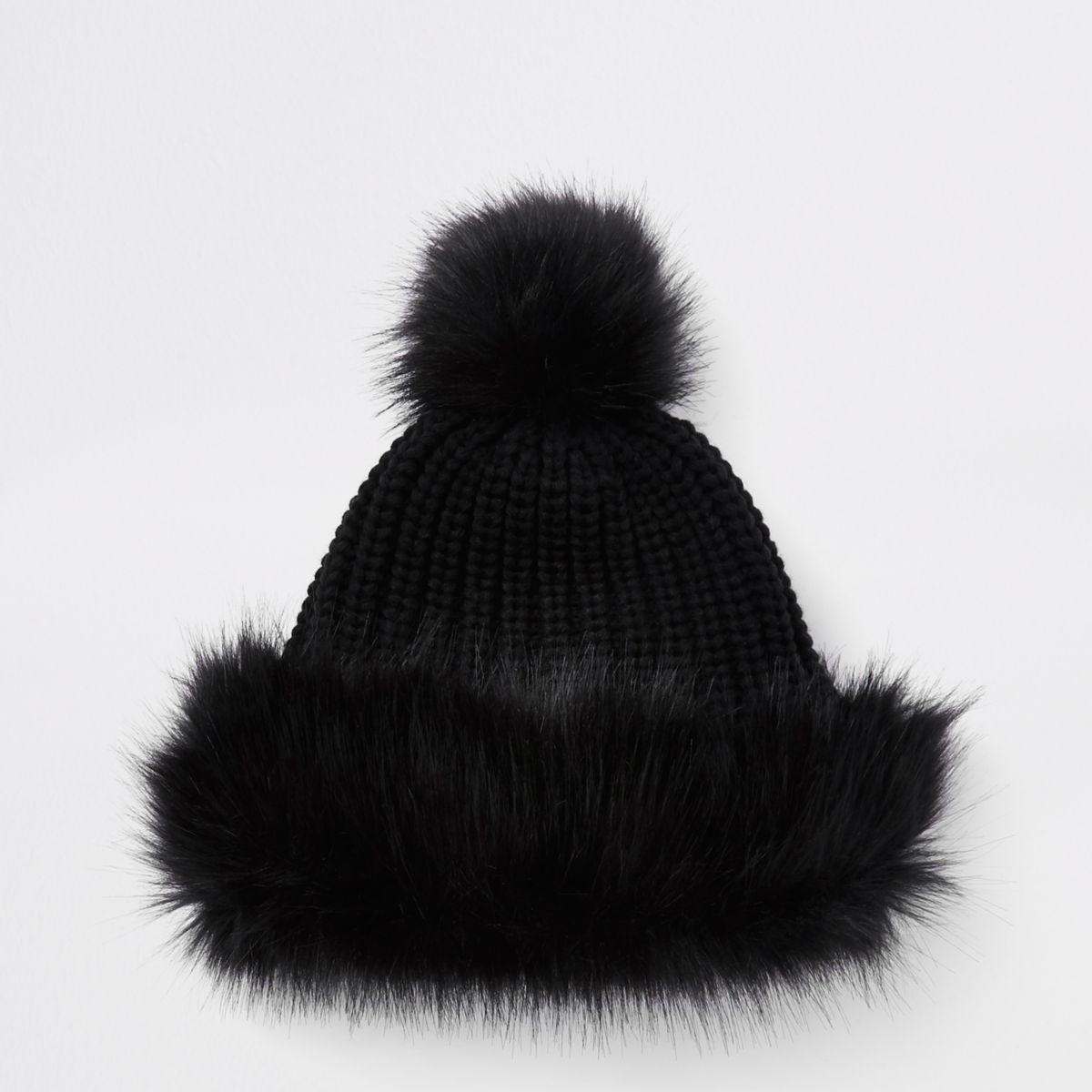Girls black faux fur trim bobble hat