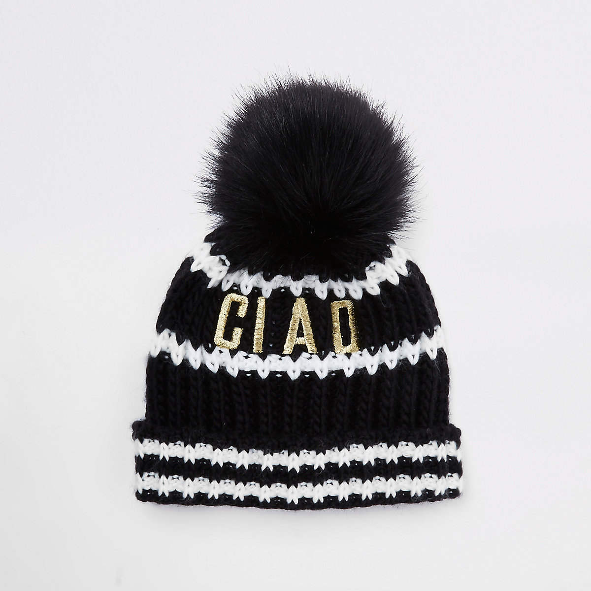 Mini kids black faux fur pom pom beanie hat