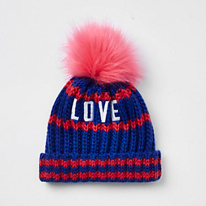 Mini girls blue 'love' pom pom beanie hat