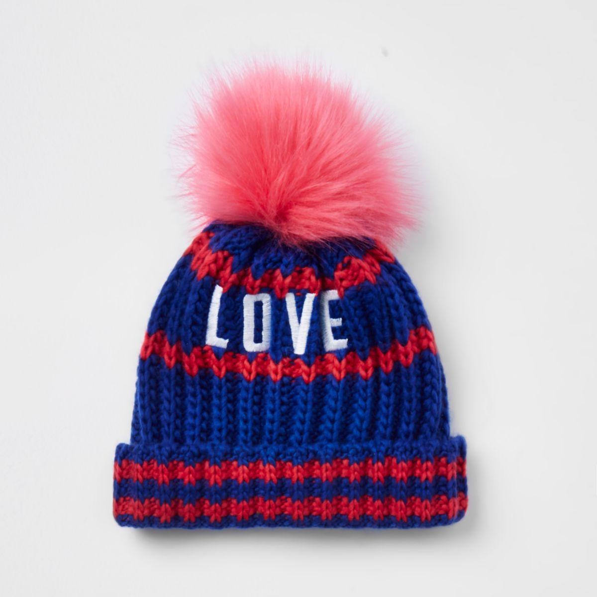 Mini girls blue 'love' pom pom beanie hat