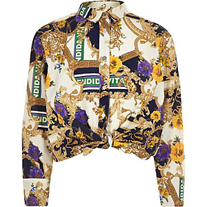 Hemd in Creme mit Barock-Print