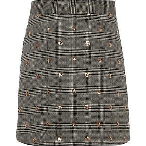 Girls grey sequin check A-line skirt