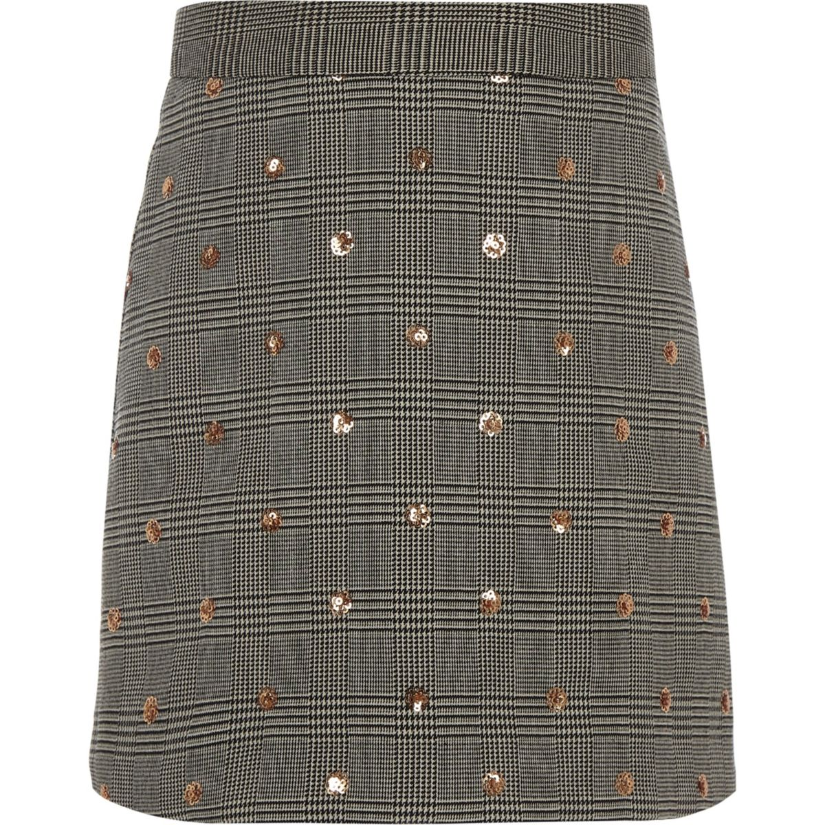 Girls grey sequin check A-line skirt