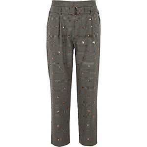 Pantalon à carreaux gris orné de sequins fille
