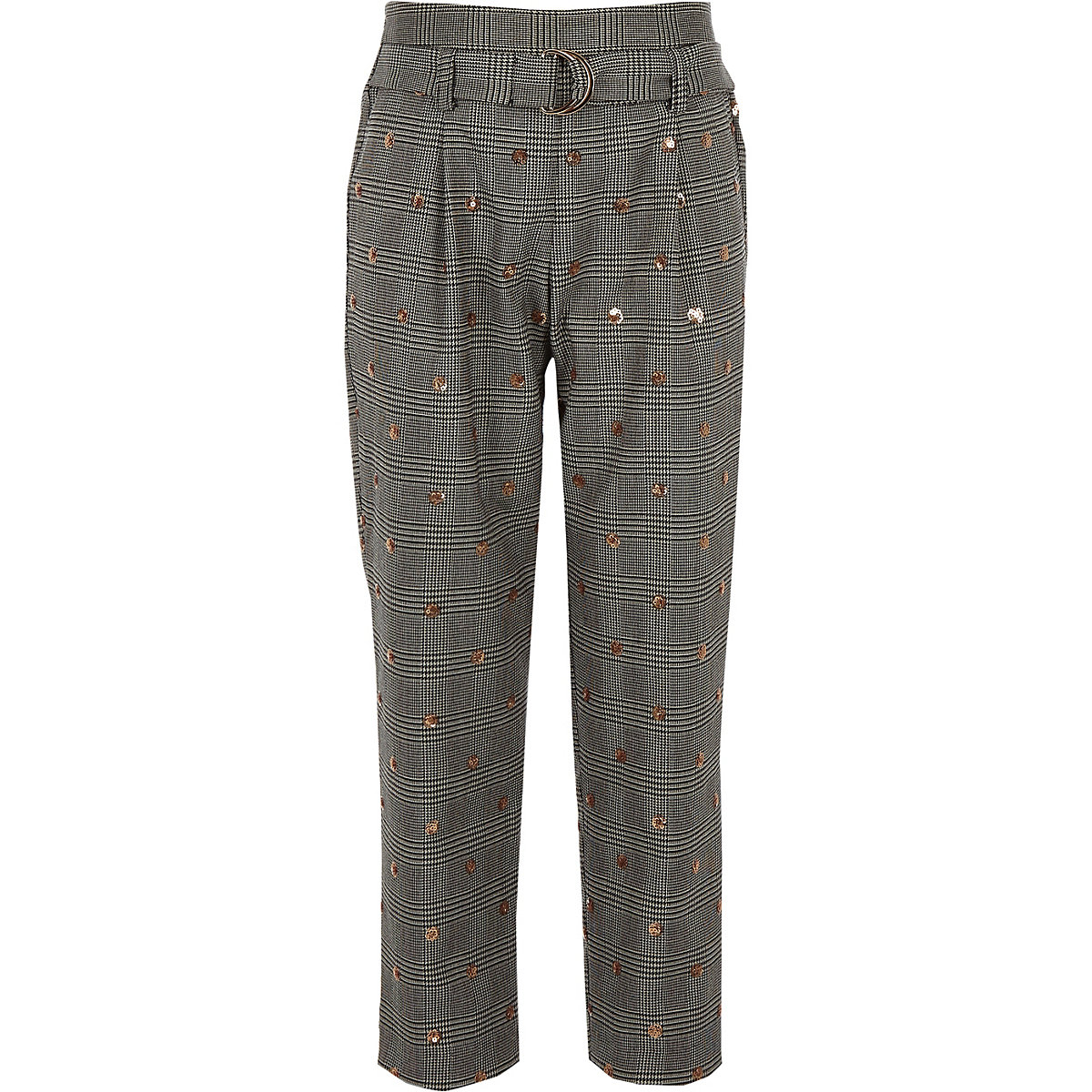 Girls grey check sequin trousers