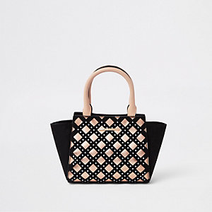 Girls black diamante metallic trim tote bag