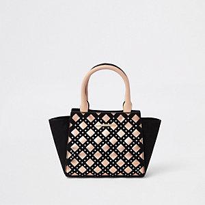 Girls black rhinestone metallic trim tote bag
