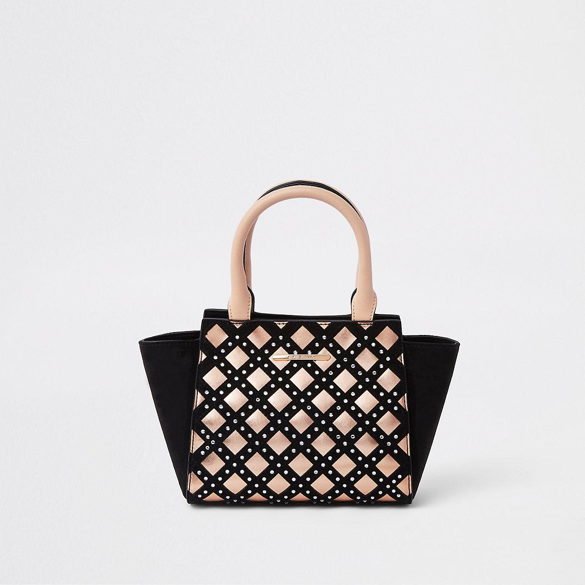 Girls black diamante metallic trim tote bag