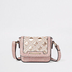 Girls pink snake metalllic cross body bag