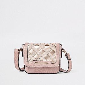 Girls pink snake metalllic cross body bag