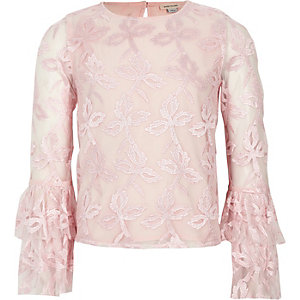 Girls pink embroidered mesh flute sleeve top