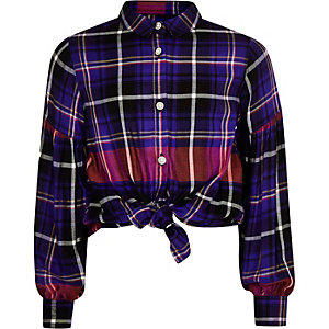 Girls purple check print tie front shirt