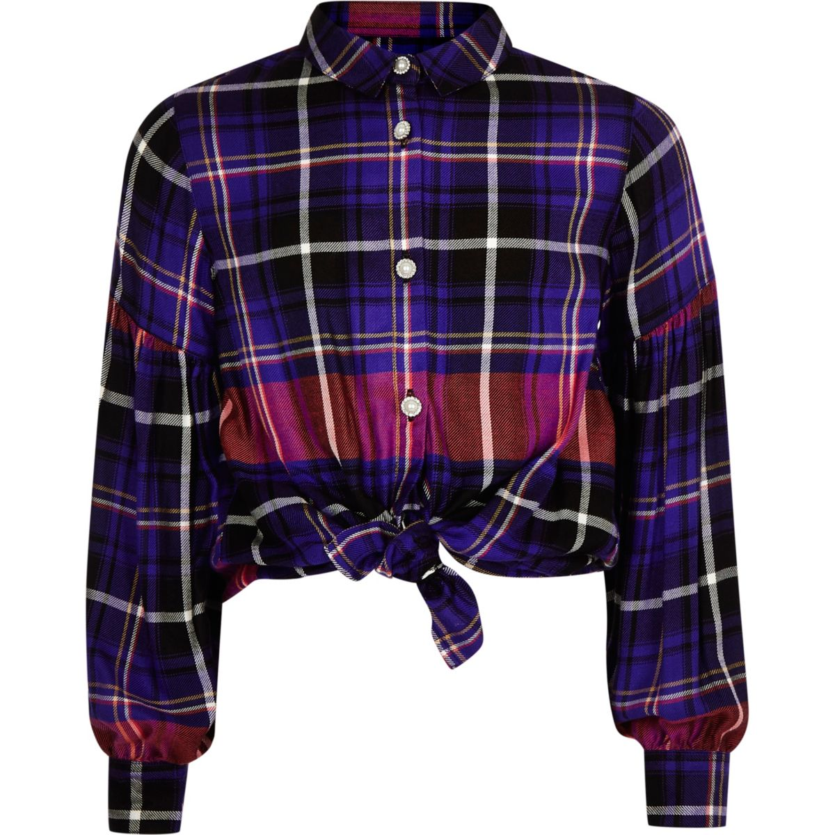 Girls purple check print tie front shirt