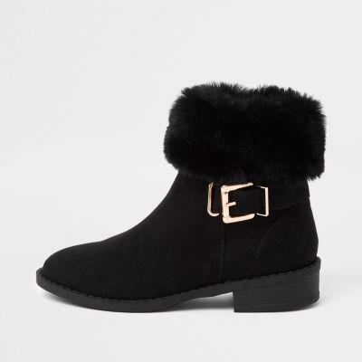 Girls Black Buckle Faux Fur Cuff Boots by River Island
