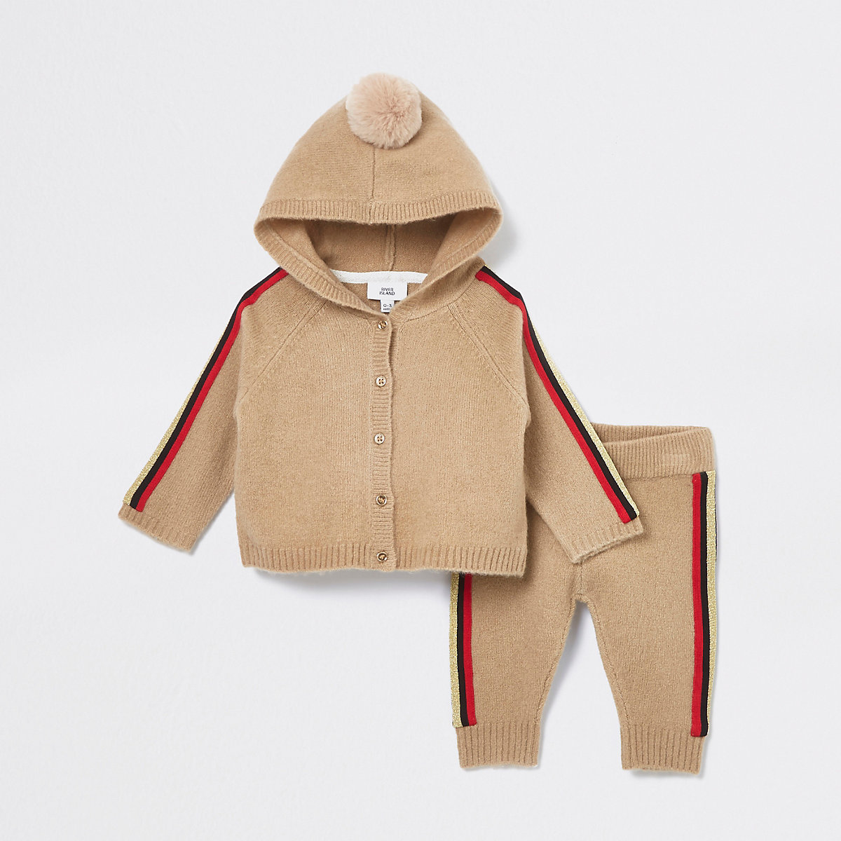 Baby beige side stripe cardigan outfit