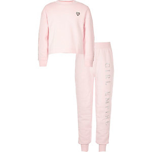 Girls light pink diamante trim sweat outfit