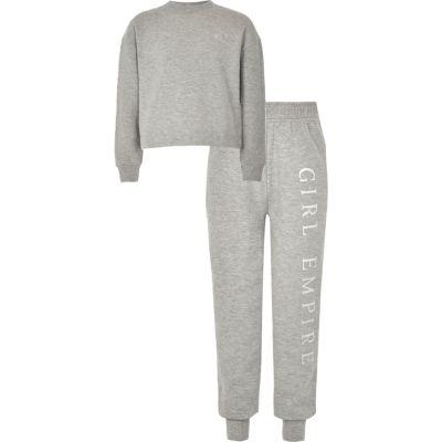 Girls Grey Diamante Trim Sweat Outfit by River Island