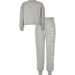 Girls grey diamante trim sweat outfit