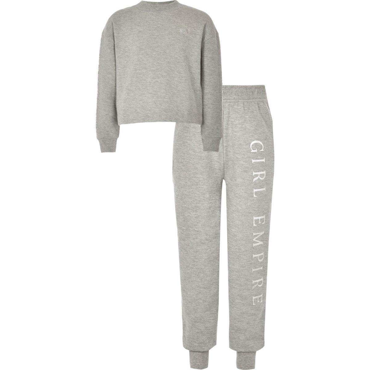 Girls grey rhinestone trim sweat outfit