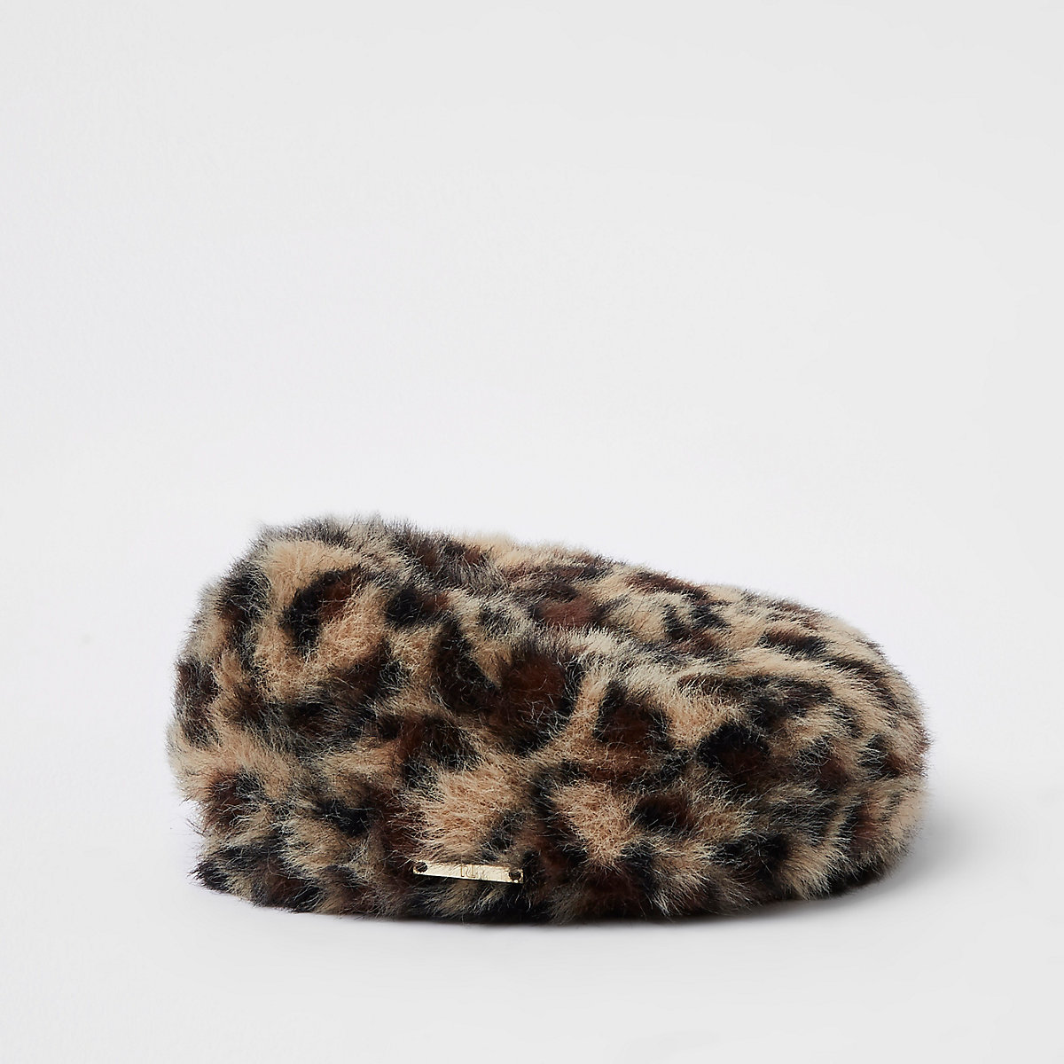 Mini girls brown faux fur leopard print beret