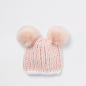 Mini girls pink double pom pom beanie