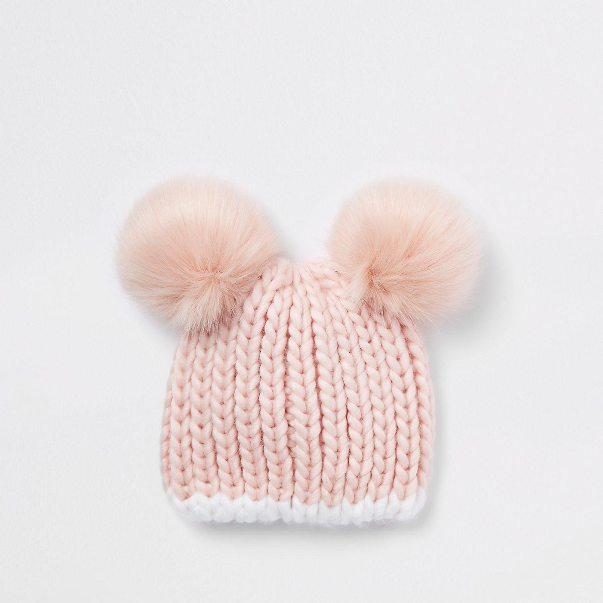 Mini girls pink faux fur pom pom beanie
