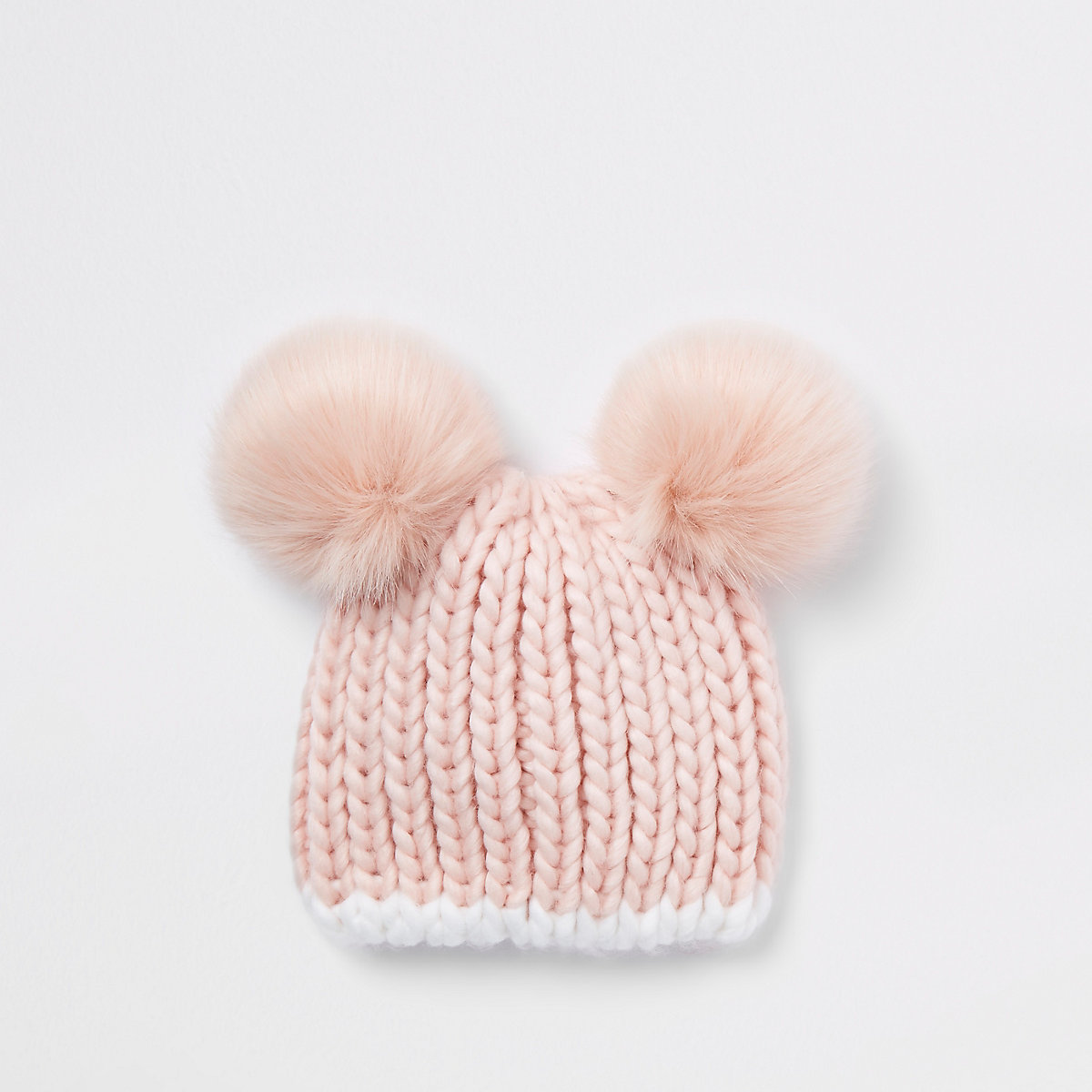 Mini girls pink faux fur pom pom beanie
