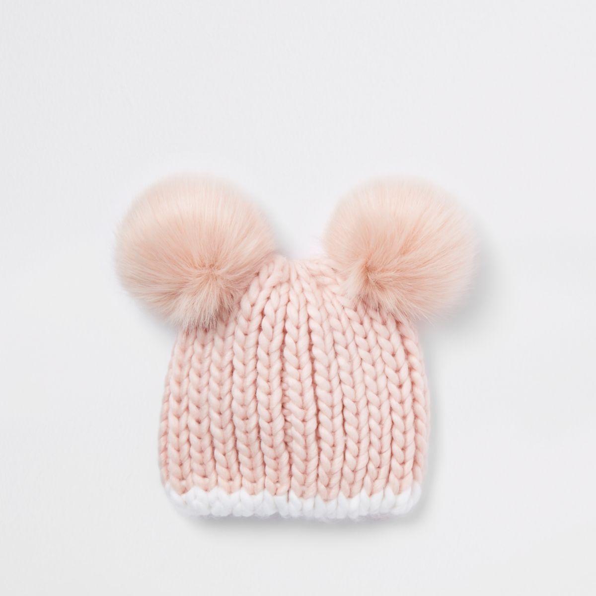 Mini girls pink double pom pom beanie