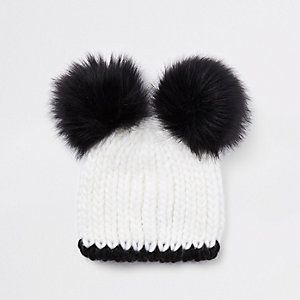 Girls white faux fur double pom pom beanie