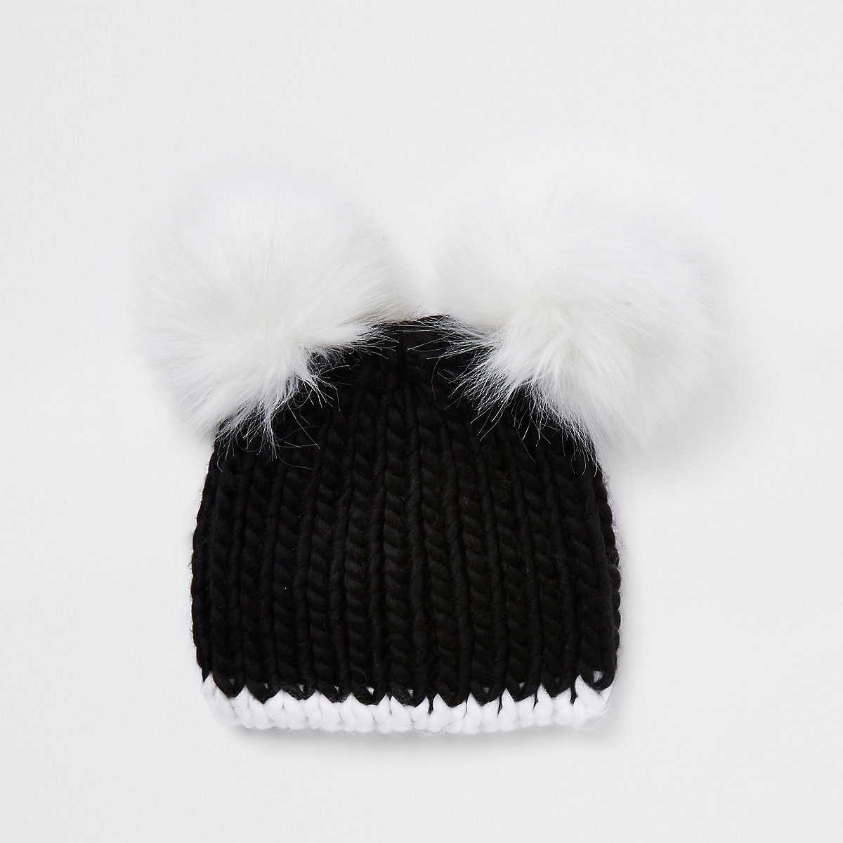 Girls black faux fur double pom pom beanie