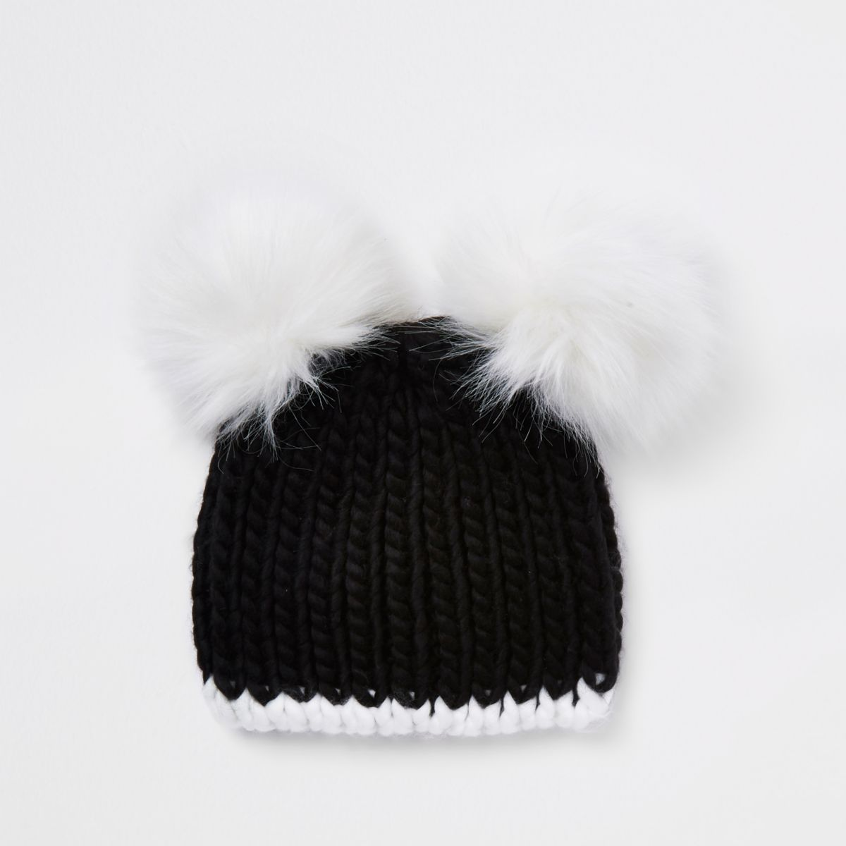 f52c8e6d953 ... buy lyst helene berman double pom pom beanie hat in black 0f9d1 54166