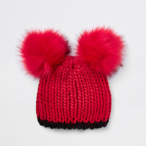 Girls red faux fur pom pom beanie hat