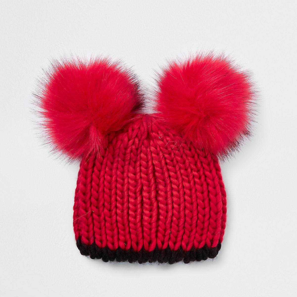 Girls red faux fur pom pom beanie hat