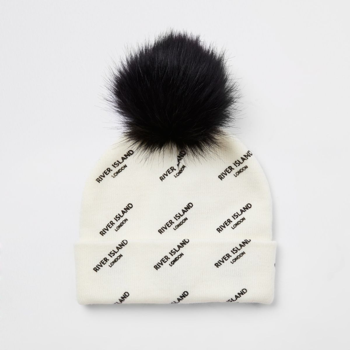Girls cream faux fur bobble RI beanie hat
