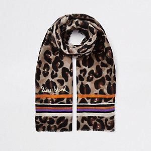 Brauner Schal mit Streifen und Leopardenmuster