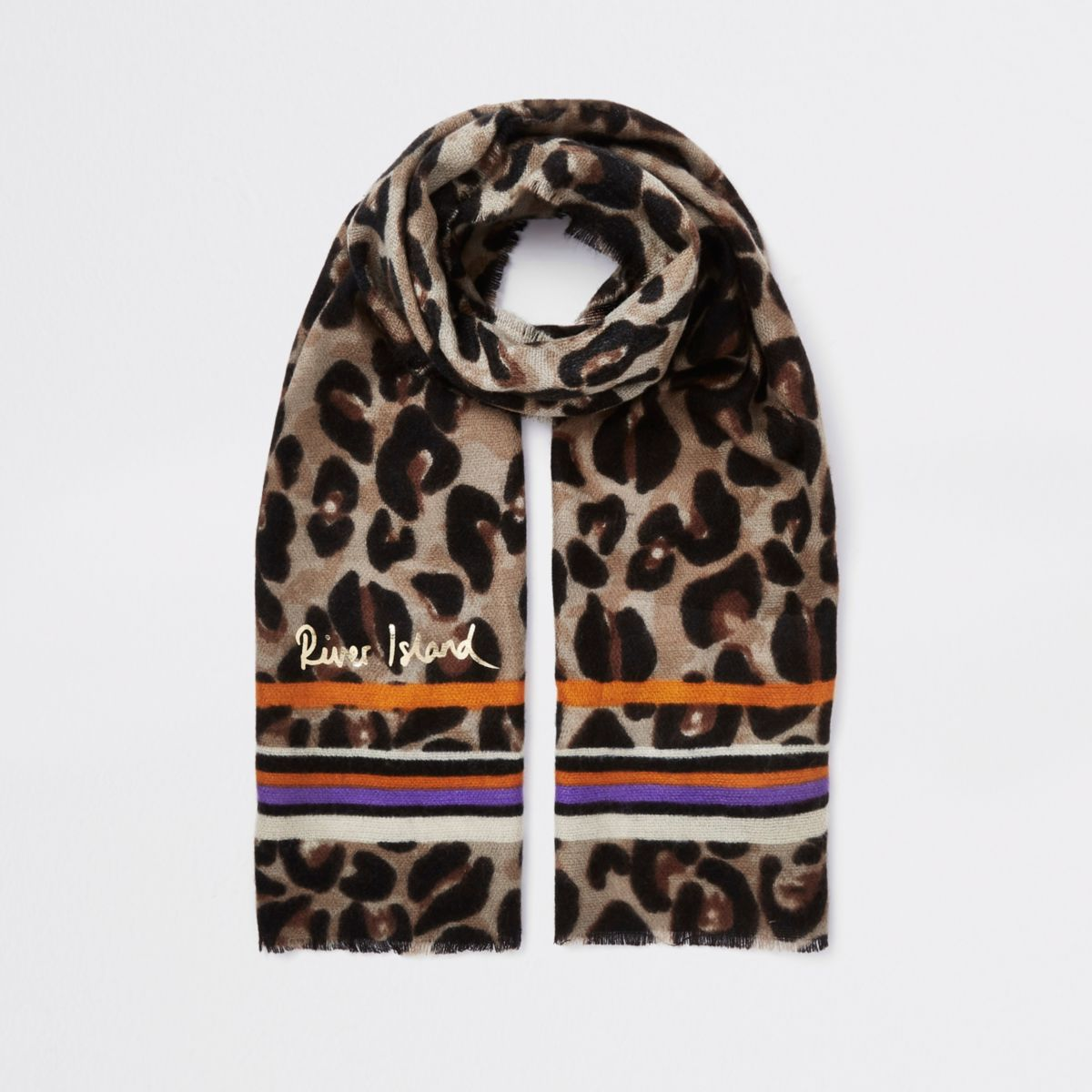 Girls brown leopard and stripe print scarf