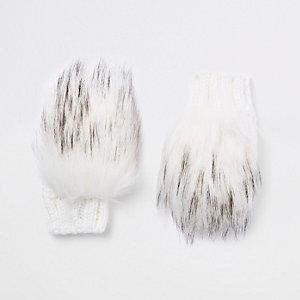 Crème handschoenen met imitatiebont voor meisjes