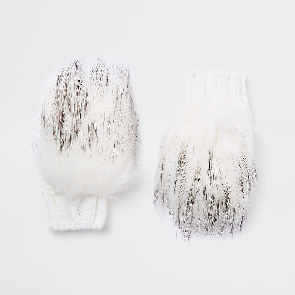 Girls cream faux fur mittens