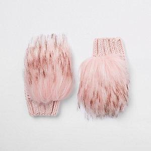 Roze handschoenen met imitatiebont voor meisjes