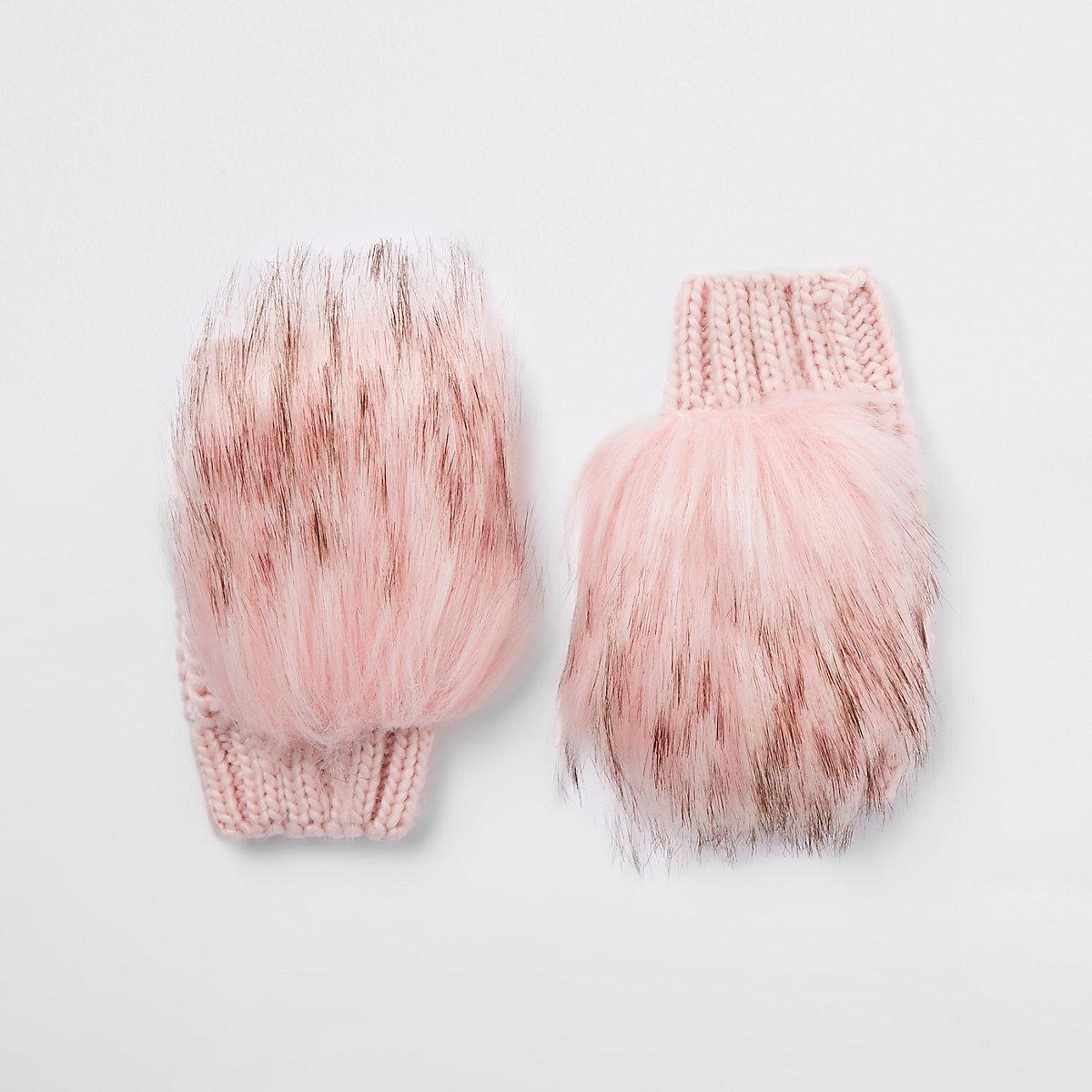 Girls pink faux fur mittens