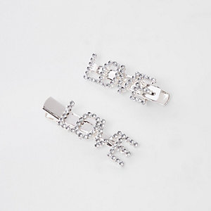 Girls silver tone 'love' diamante hair clips