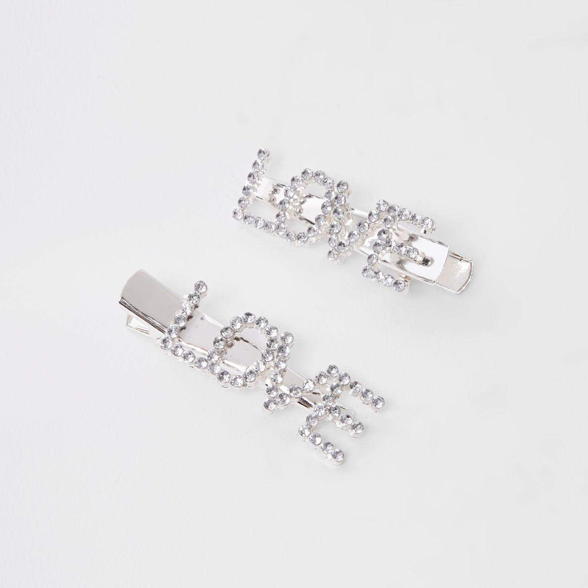 Girls silver tone 'love' diamante hair clips