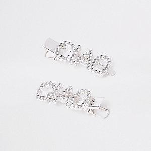Zilverkleurige haarspeldjes met diamantjes en 'ciaoi' voor meisjes