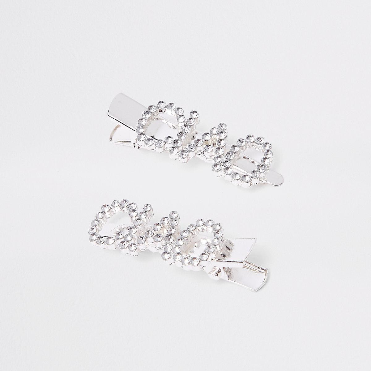 Girls silver tone 'ciao' rhinestone hair clips