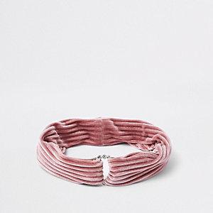 Bandeau en velours rose avec cercle à strass pour fille