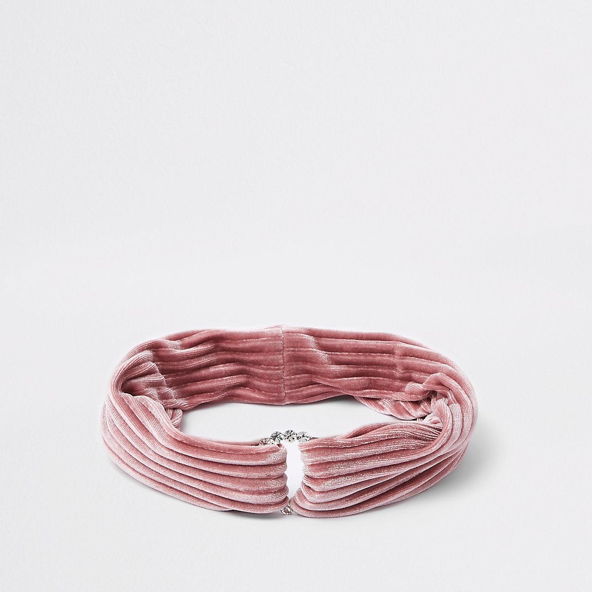 Girls pink diamante circle velvet headband
