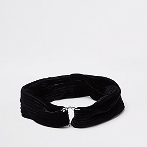 Girls black diamante circle velvet headband