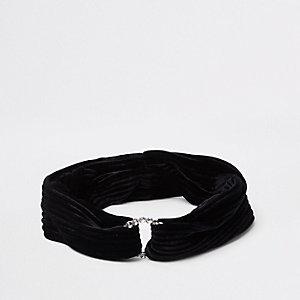 Zwarte fluwelen hoofdband met cirkel en diamantjes voor meisjes