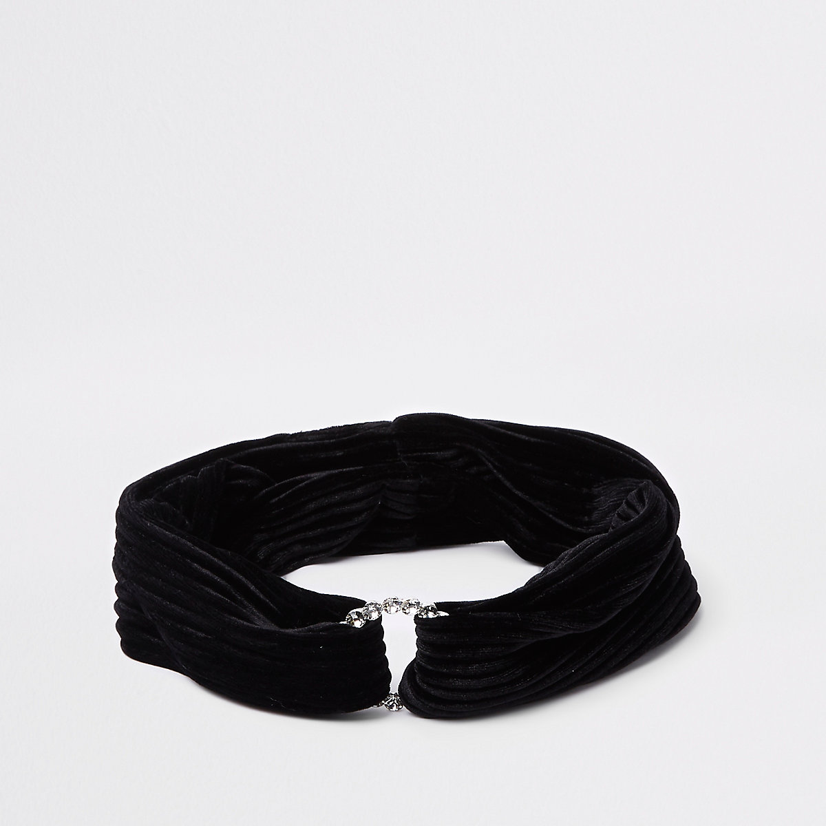 Girls black rhinestone circle velvet headband