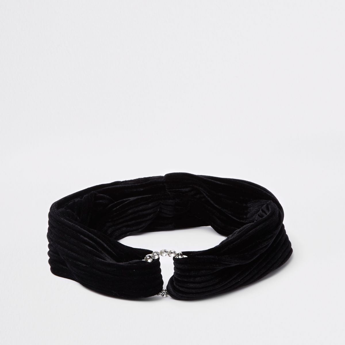 Girls black diamante circle velvet headband